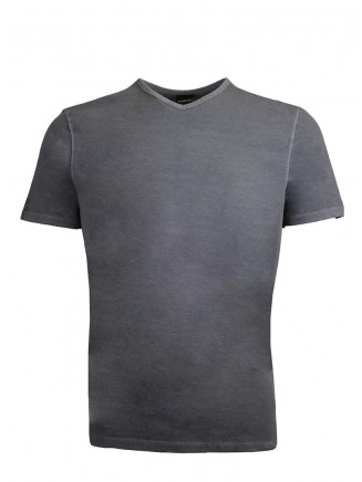 191003-Grey V  Neck %100 Cotton Tshirt
