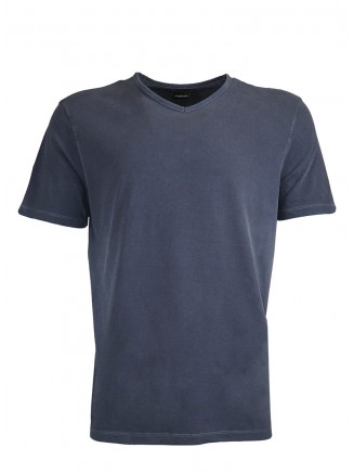 191003-Navy Blue V  Neck %100 Cotton Tshirt