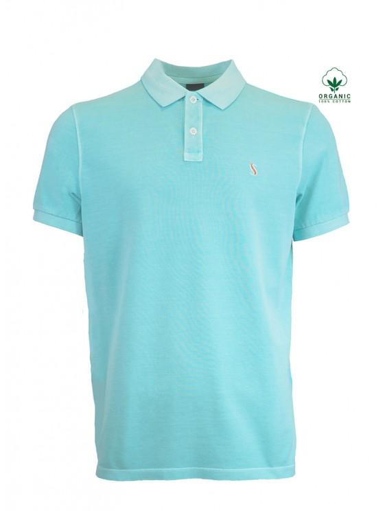 Light Turquoise Organic Cotton Polo Shirt