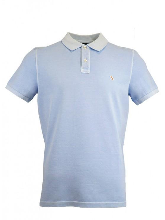 Light Blue %100 Cotton Pique Polo Shirt