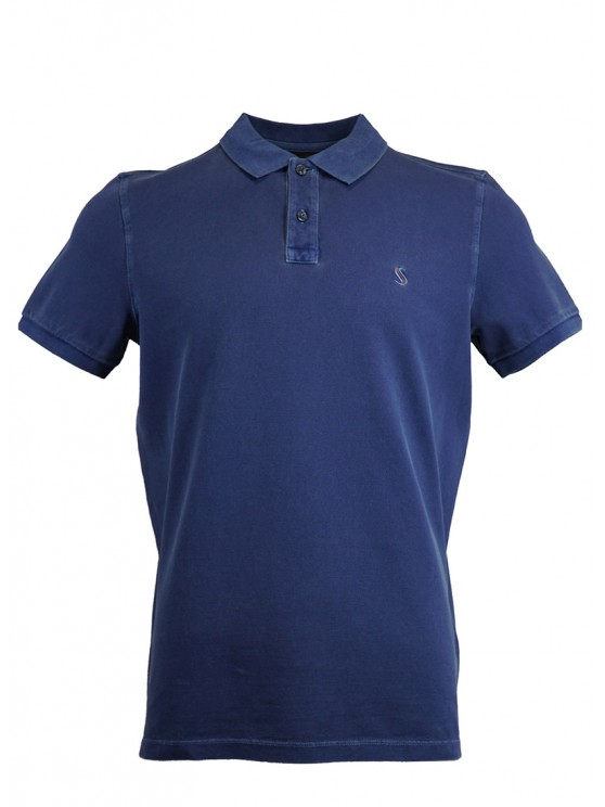 Navy Blue %100 Cotton Pique Polo Shirt