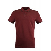 Claret Red Pique Polo Shirt With Detailed Collar