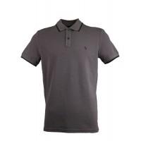Grey Pique Polo Shirt With Detailed Collar