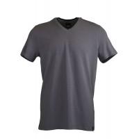 Grey V Neck Detailed T-shirt