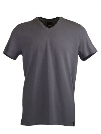 Grey V Neck Detailed T-shirt