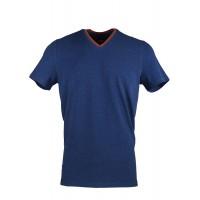 Navy Blue V Neck Detailed T-shirt