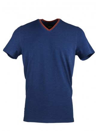 Navy Blue V Neck Detailed T-shirt