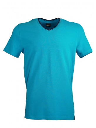 Turquoise V Neck Detailed T-shirt