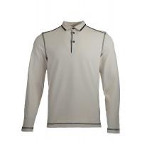 Ecru Sweatshirt With Polo Collar