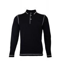 Black Sweatshirt With Polo Collar