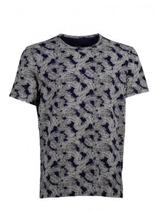 Navy Blue Digital Printing T-Shirt