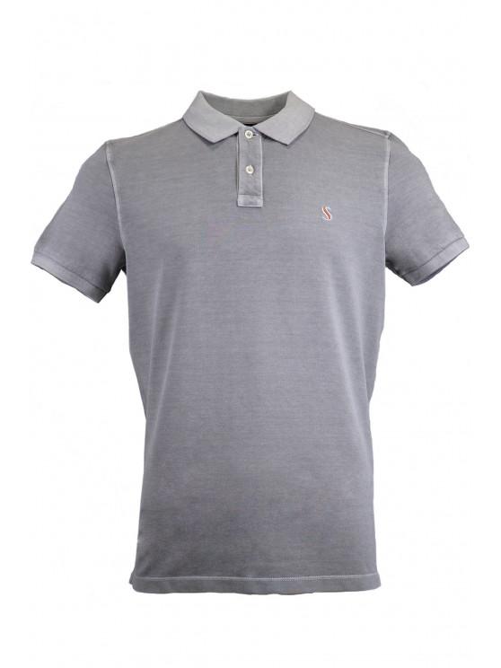 Grey %100 Cotton Pique Polo Shirt