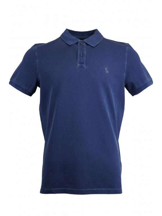 Navy Blue %100 Cotton Pique Polo Shirt