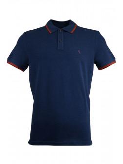 Navy Blue Pique Polo Shirt With Detailed Collar