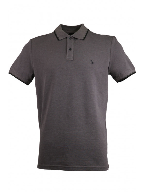 Grey Pique Polo Shirt With Detailed Collar