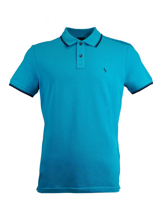 Turquoise Pique Polo Shirt With Detailed Collar