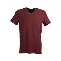 Claret Red V Neck Detailed T-shirt