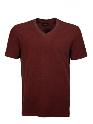 Claret Red V Neck Detailed T-shirt
