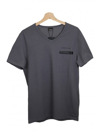 Grey  V Neck Pocket Detailed %100 Cotton T-Shirt