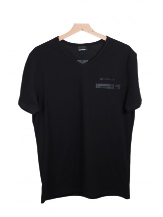 Black  V Neck Pocket Detailed %100 Cotton T-Shirt