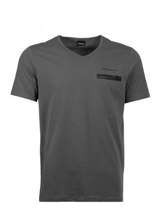 Grey  V Neck Pocket Detailed %100 Cotton T-Shirt
