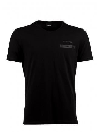 Black  V Neck Pocket Detailed %100 Cotton T-Shirt