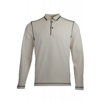 Ecru Sweatshirt With Polo Collar