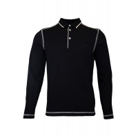Black Sweatshirt With Polo Collar