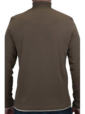 Khaki Troyer Neck Sweatshirt