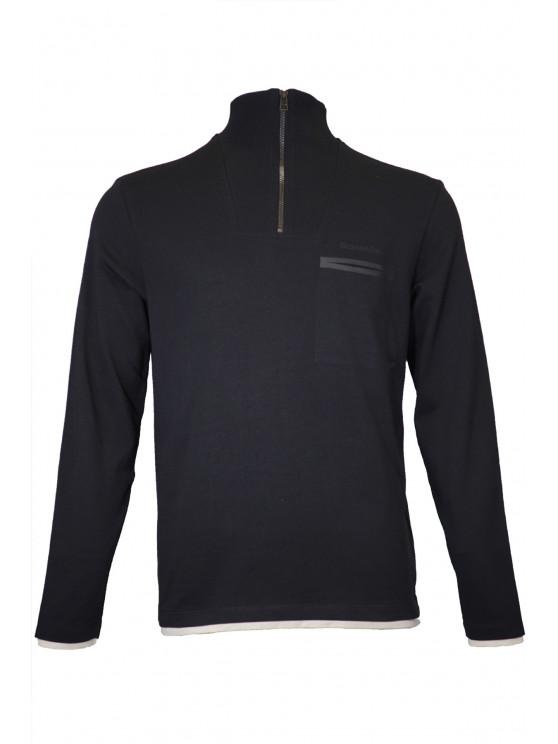 Black Troyer Neck Sweatshirt