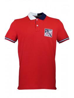 Red %100 Cotton Pique Design Patch Polo Shirt