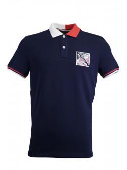 Navy Blue %100 Cotton Pique Design Patch Polo Shirt